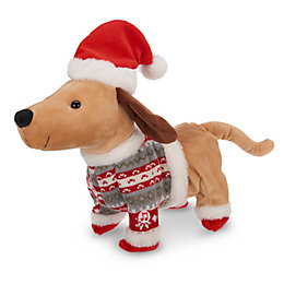 Battery Operated Musical Walking Dog Christmas Animation