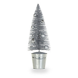 Glitter Silver Effect Traditional Table Top Tree