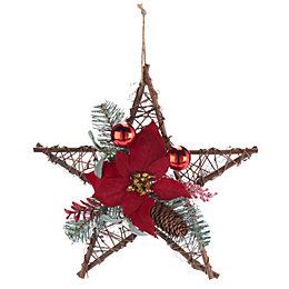 Traditional Brown & Red Star Poinsettia Wreath, (D)350mm