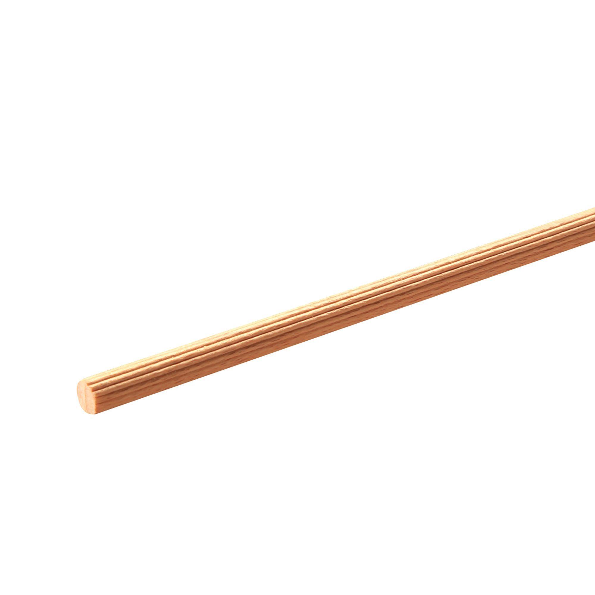 Beech Fluted dowel moulding (T)8mm (W)8mm (L)1000mm