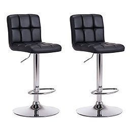 Lagan Black & Chrome effect Bar stool (H)1090mm