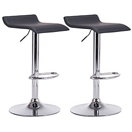Daphne Black & Chrome effect Bar stool (H)850mm