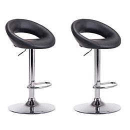 Regina Black & Chrome Effect Bar Stool (H)1000mm