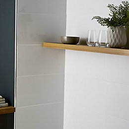 Catanzaro White Gloss Plain Ceramic Wall tile, Sample,