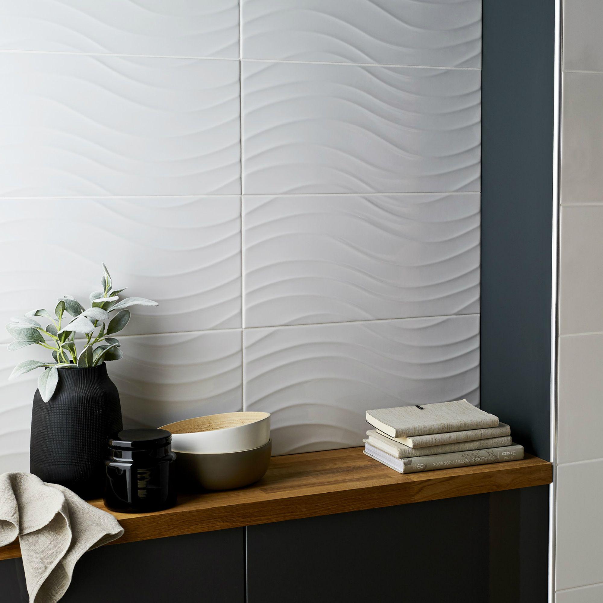 Catanzaro White Gloss Wave Ceramic Wall tile, Sample,