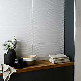 Catanzaro White Gloss Wave Ceramic Wall tile, Sample,