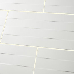 Brindisie White Satin Rectangle Ceramic Wall tile, Sample,