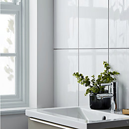 Perouso White Gloss Plain Ceramic Wall tile, Sample,