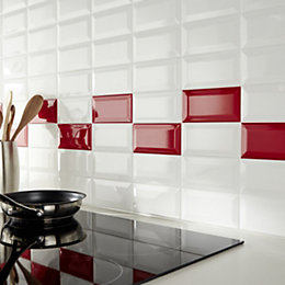 Trentie Red Gloss Plain Ceramic Wall tile, Sample,