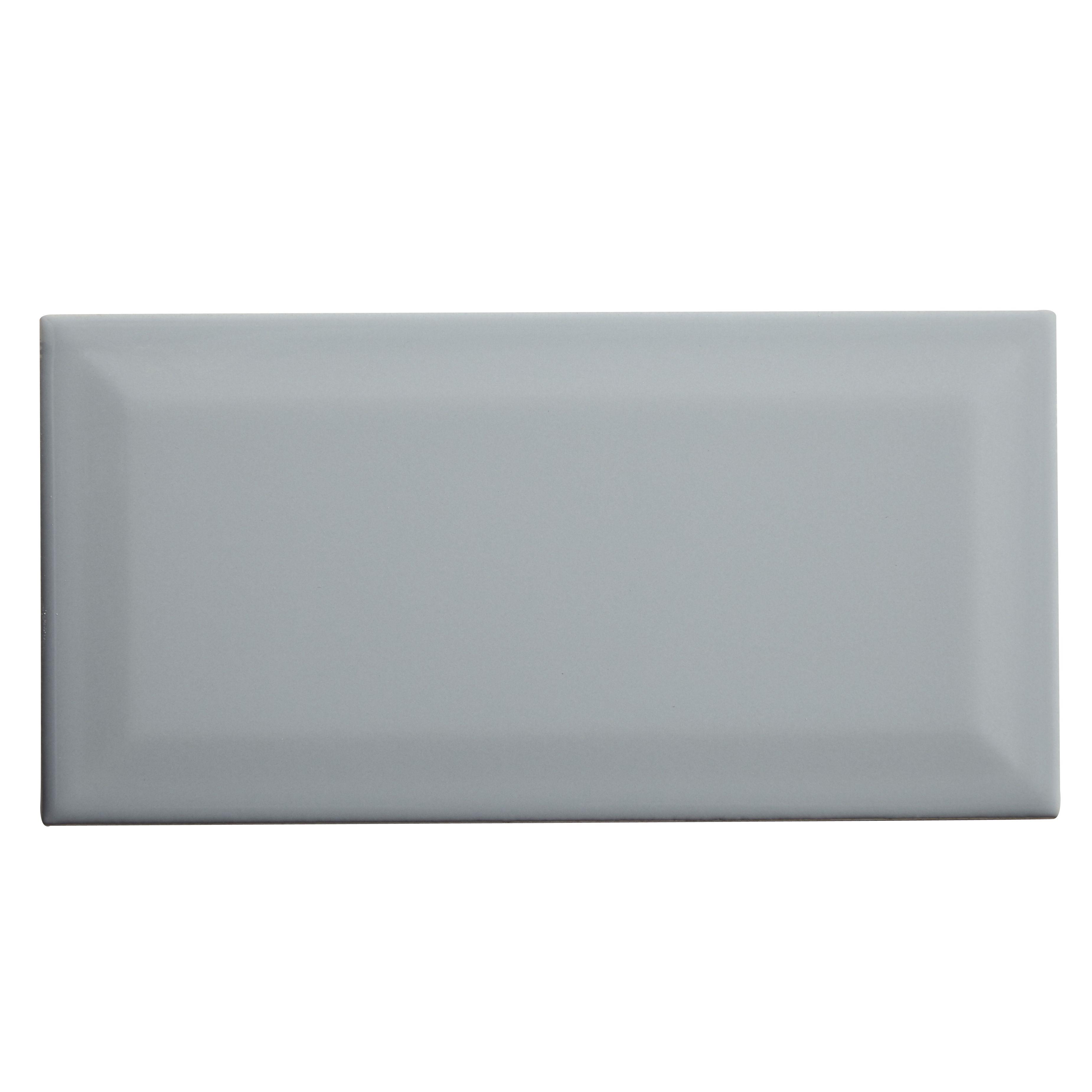 Trentie Grey Gloss Ceramic Wall Tile L 200mm W 100mm