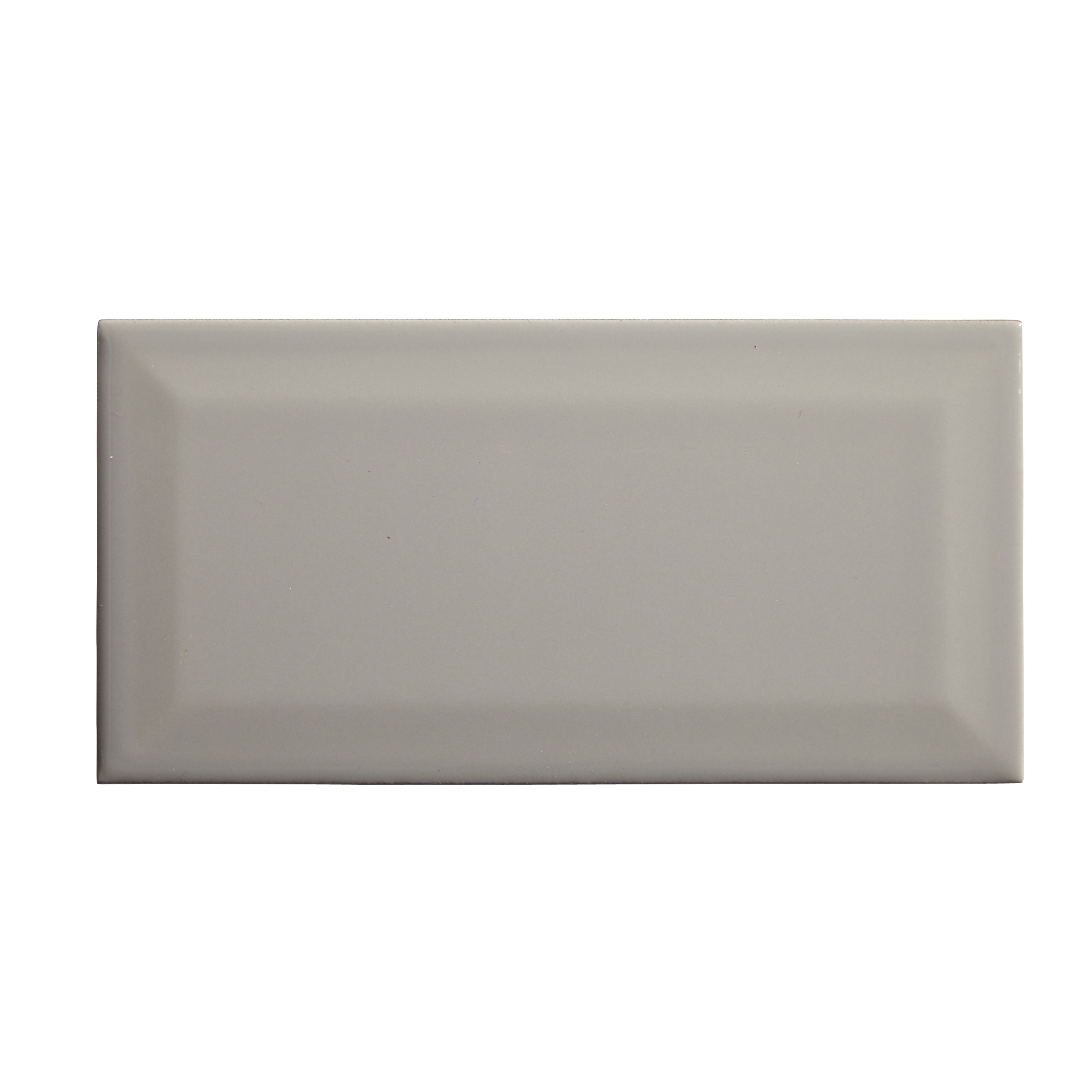 Trentie Taupe Gloss Ceramic Wall Tile L 200mm W 100mm