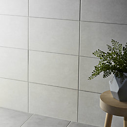 Cimenti Light grey Matt Plain Ceramic Wall tile,