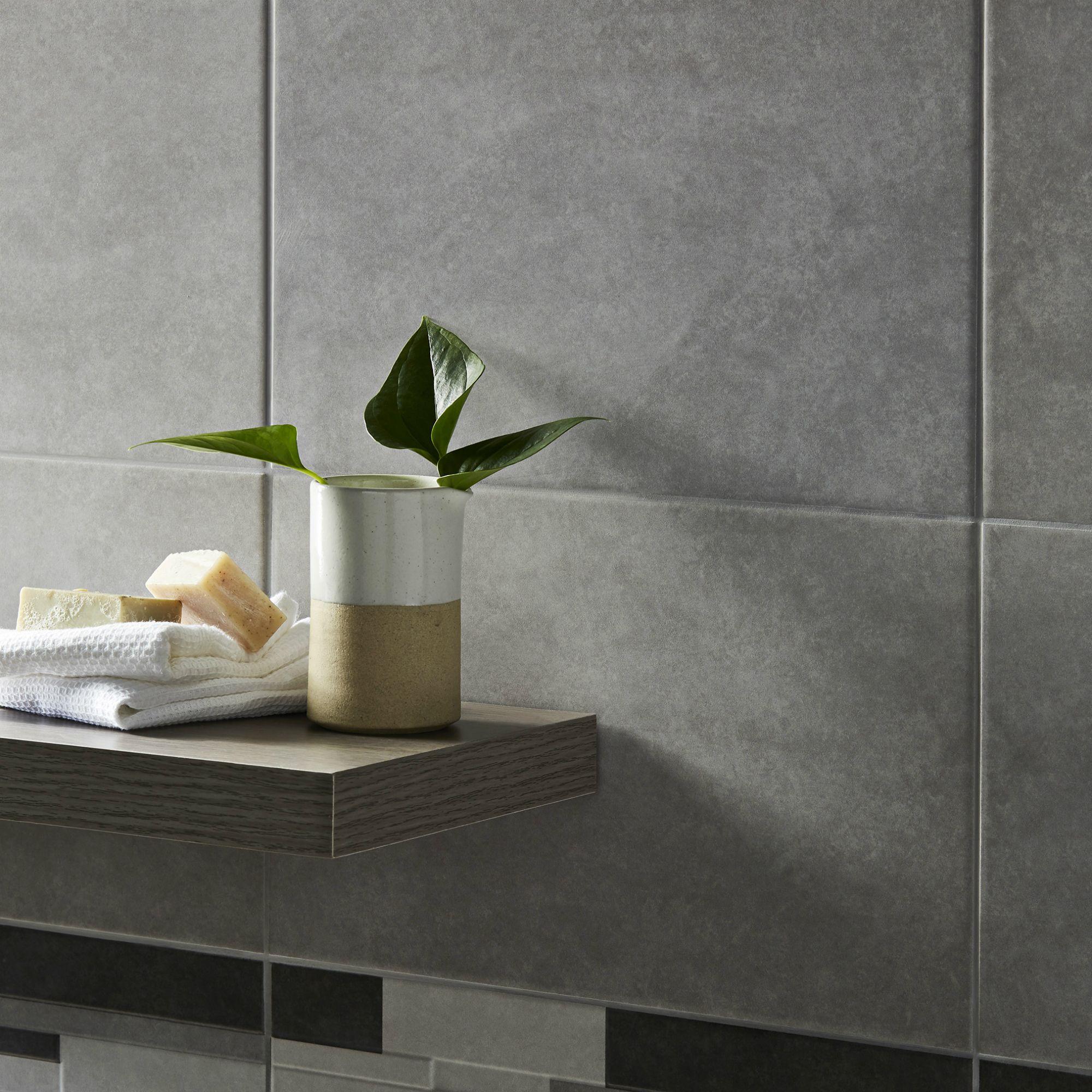 Cimenti Grey Matt Plain Ceramic Wall tile, Sample,