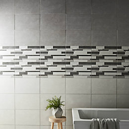 Cimenti Grey Matt Linear Ceramic Wall sample tile,
