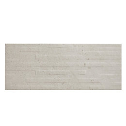 Milestone Ivory Matt Linear Ceramic Wall tile, Sample,