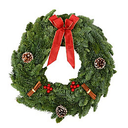 Green & Red Traditional Large Christmas Wreath, (D)450mm