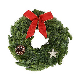 Green & Red Traditional Medium Christmas Wreath, (D)300mm