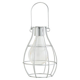 Silver effect Cage Solar powered LED Outdoor lamp