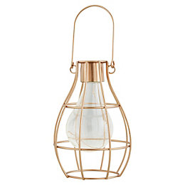 Gold effect Cage Solar powered LED Outdoor lamp
