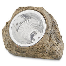 Grey Solar powered LED Solar outdoor rock lamp