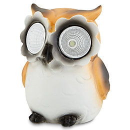 Brown & white Painted Owl Solar powered LED