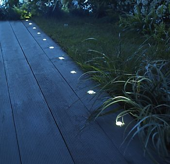 Decking with Blooma coldstrip brushed LED deck lights