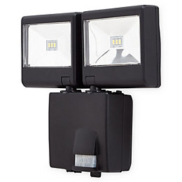 Blooma Colwood Black Battery powered Floodlight with PIR