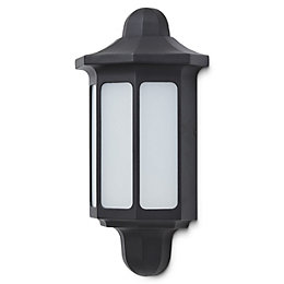 Blooma Dunham Black Mains Outdoor half wall light