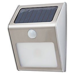 Brushed chrome Rectangular Solar powered LED Outdoor wall