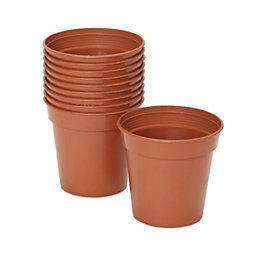 Lei Round Brown Grow Pot (H)100mm (Dia)76mm, Pack