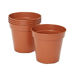 Lei Round Brown Grow pot (H)150mm (Dia)127mm, Pack