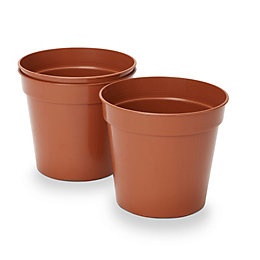 Lei Round Brown Grow pot (H)150mm (Dia)180mm, Pack