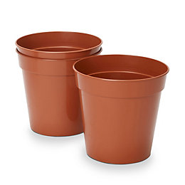 Lei Round Brown Grow pot (H)200mm (Dia)225mm, Pack