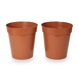 Lei Round Brown Grow pot (H)280mm (Dia)254mm, Pack