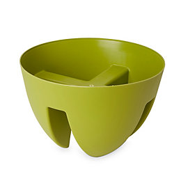 Nurgul Round Green Railing pot (H)200mm (Dia)300mm