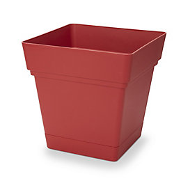 Nurgul Square Red Pot with reservoir (H)385mm (L)380mm