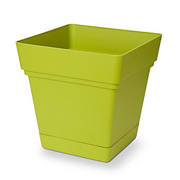 Nurgul Square Green Pot with Reservoir (H)385mm (L)380mm