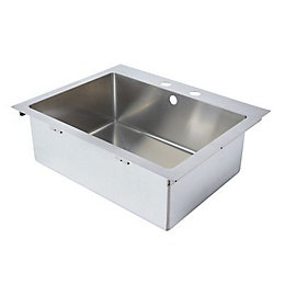 Cooke & Lewis Ampère 1 bowl Brushed Stainless