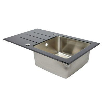 Cooke lewis lamarck 1 bowl stainless steel toughened glass sink drainer departments - Bq kitchen sinks ...