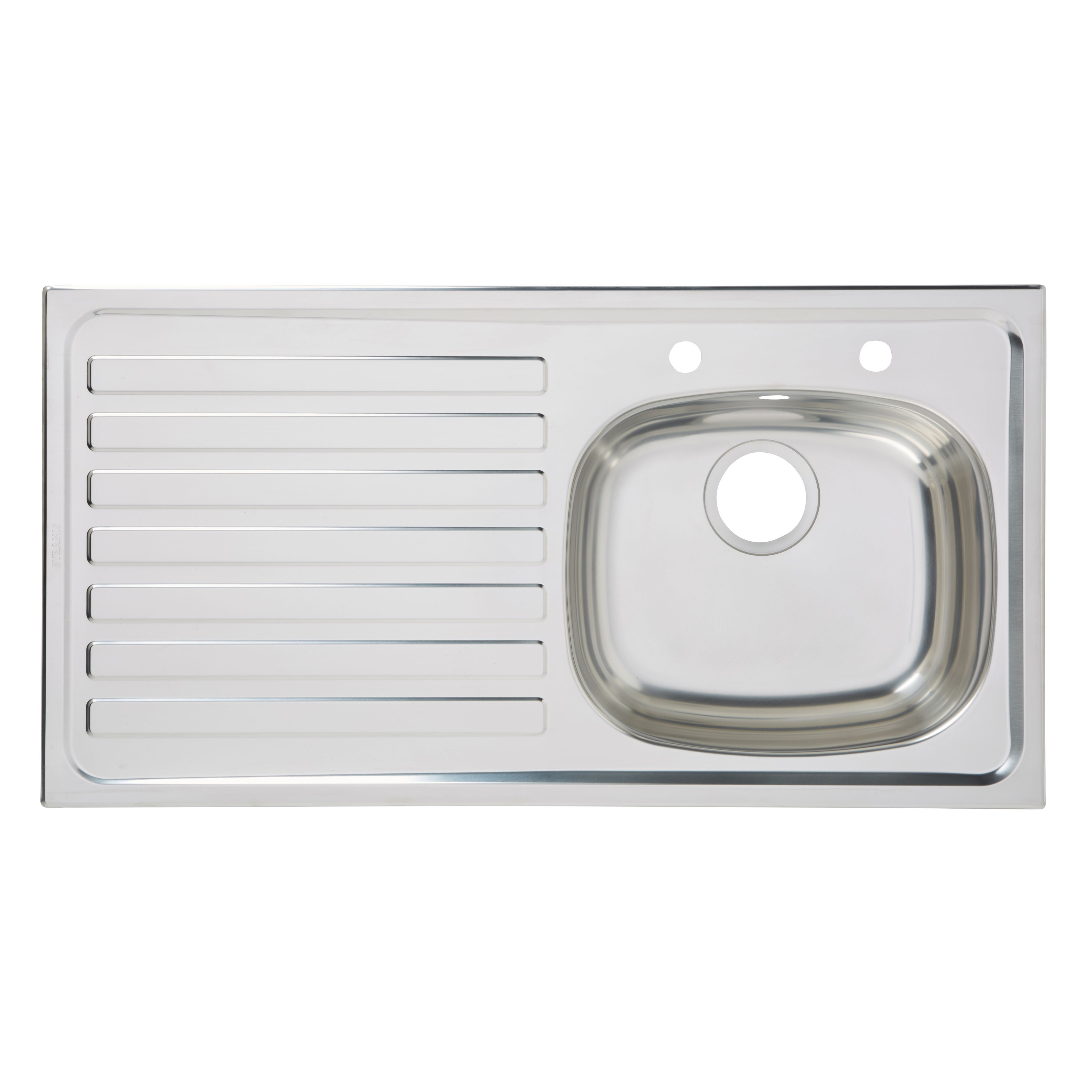 b and q kitchen sink utility 1 bowl polished stainless steel sink amp lh drainer 7541