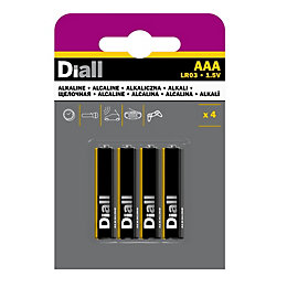 Diall AAA Alkaline Battery, Pack of 4