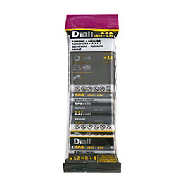 Diall AAA Alkaline Battery, Pack of 12