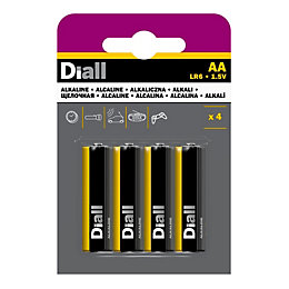 Diall AA Alkaline Battery, Pack of 4