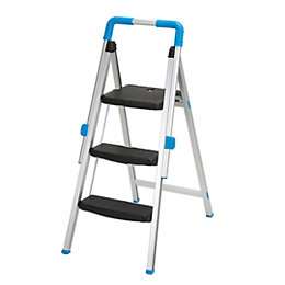 Mac Allister 3 tread Aluminium Step stool, 1.1m