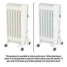 Electric 1500W Beige Oil filled radiator