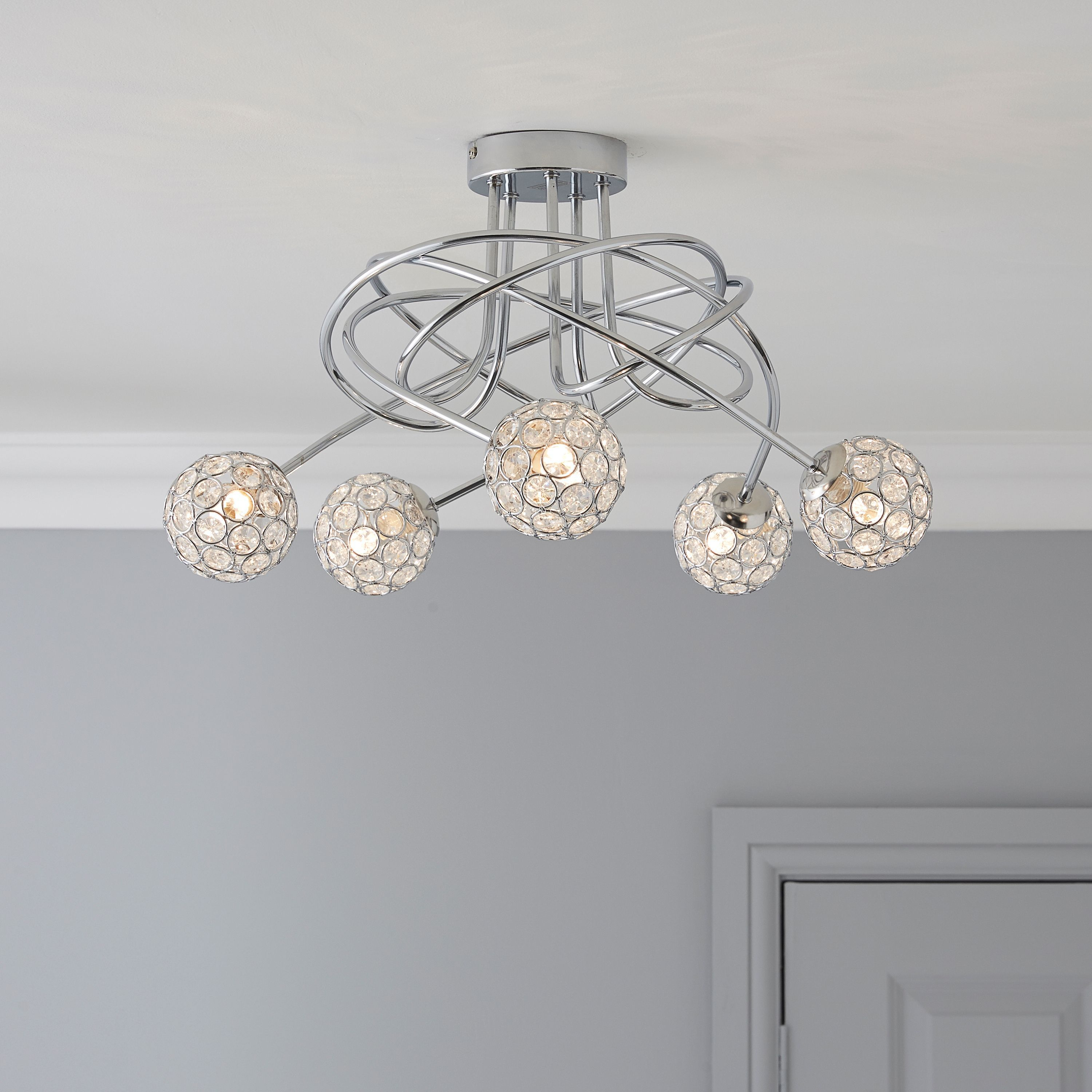 Lopez Crystal Circle Chrome Effect 5 Lamp Ceiling Light