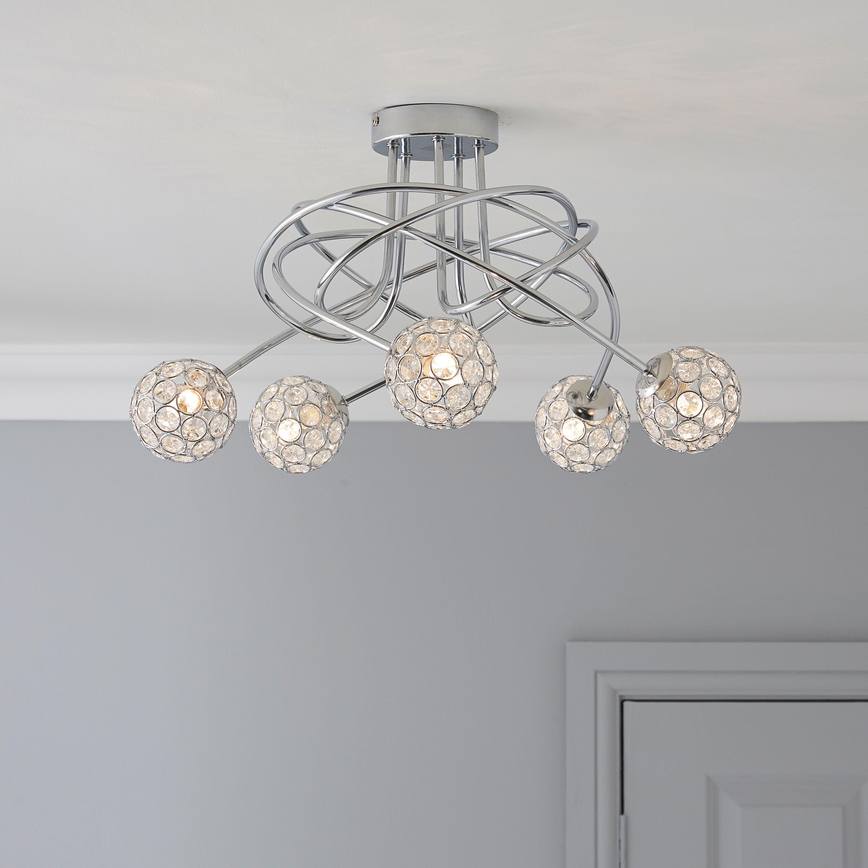 Chandelier Lighting B Q: Lopez Crystal Circle Chrome Effect 5 Lamp Ceiling Light