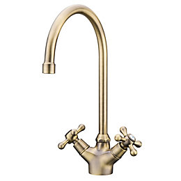 Torc Antique Brass Effect Kitchen Twin Lever Tap