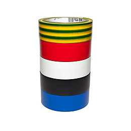 Diall Multicolour Electrical tape (L)10m (W)19mm, Pack of