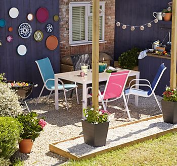 Janeiro garden furniture range with plates hung to external wall